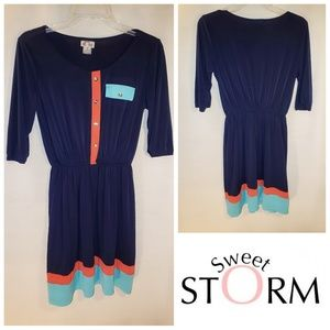 Sweet Storm Short Sleeve Navy Dress Medium